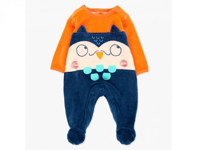 Pružný kojenecký overal z jemného sametu (bavlněný velur) s dlouhými rukávy, nohavicemi s protiskluzy a sovím ocáskem hravý overal pro kluka barevný