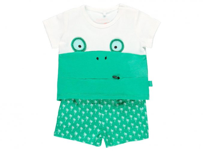 Kojenecký letní set Chameleon zelené šortky bílé tričko vtipné tričko mimi 1492391111 a