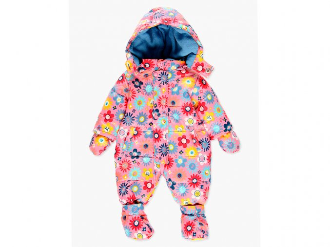 <p>Veselá dětská zimní kombinéza s odepínatelnou kapucí, rukavicemi, a botičkami a měkounkou fleecovou podšívkou, ve které miminko bude jako v bavlnce.</p>