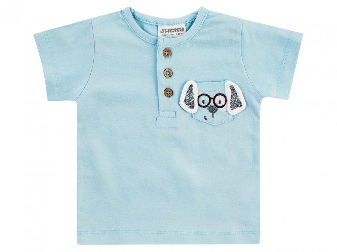 Světle modré kojenecké tričko s krátkým rukávem 100% jemná bavlna, dřevěné knoflíčky s kapsičkou