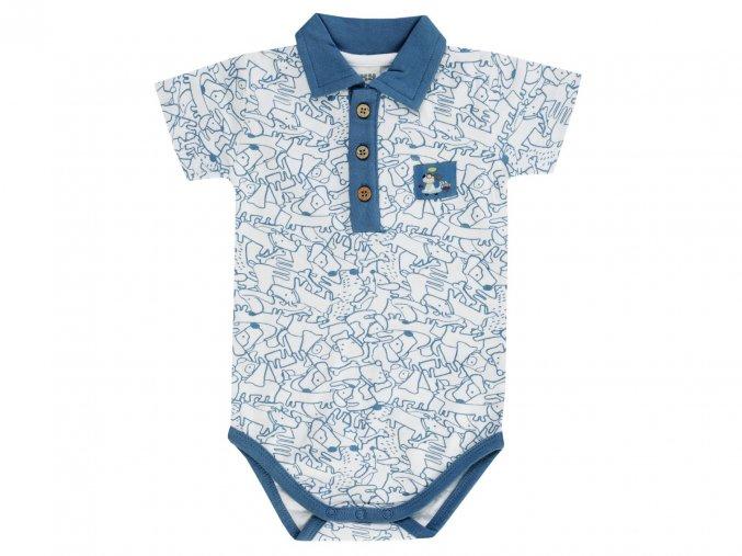 Jacky Bílé body s krátkým rukávem, límečkem a drobným modrým potiskem pejsků s kostmi.