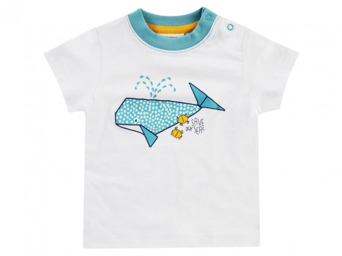 Jacky Kojenecké tričko Moře a velryba bílé modré