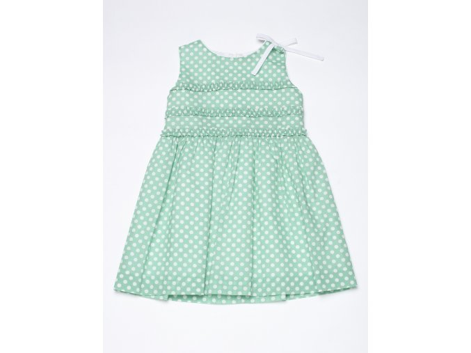 Dívčí letní šaty s puntíky mentolově zelené holčičí šaty na ramínka slavnostní Villalobos K 14258