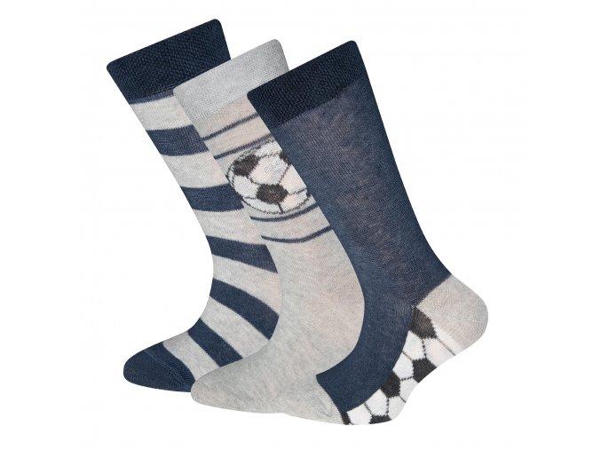 Dětské ponožky fotbalové trio modrošedé