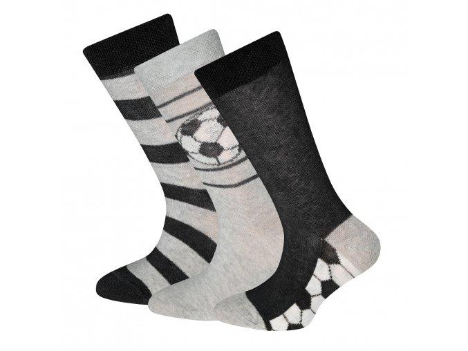 Dětské fotbalové ponožky fotbalové trio šedočerné