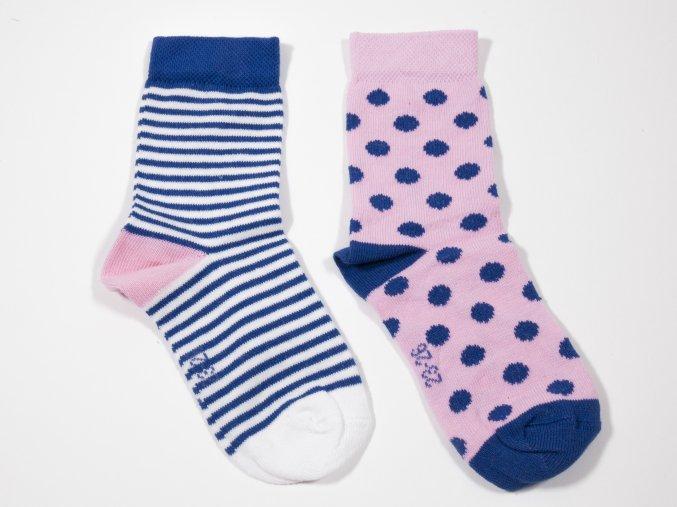 Kojenecké ponožky Puntíky a Proužky (2 páry) růžové ponožky pro holku
