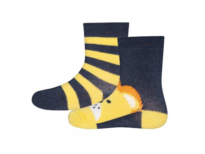 Dětské ponožky Lev žlutomodré