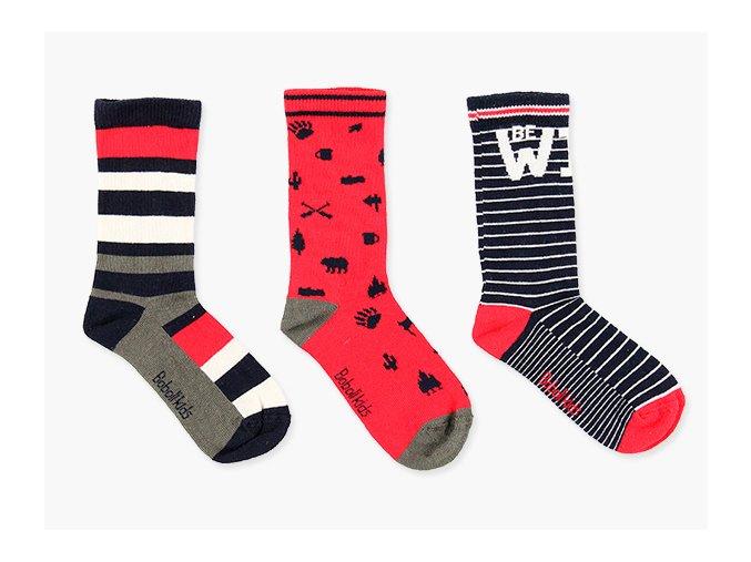 Klučičí ponožky tři páry červené