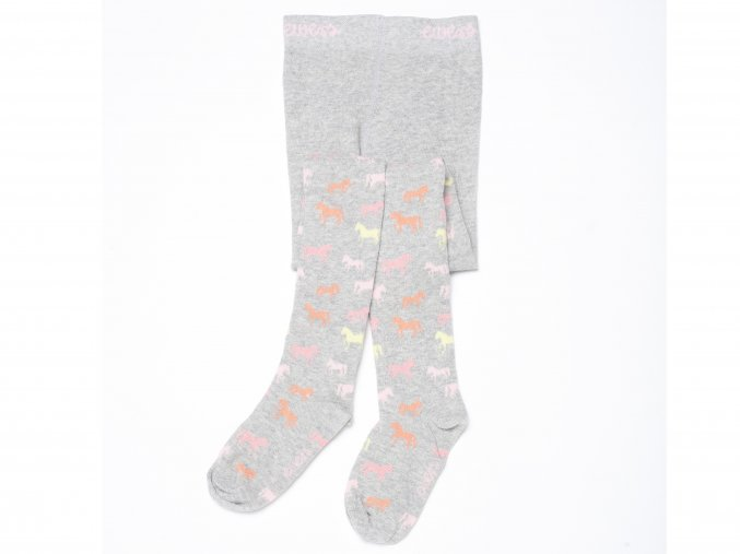 dětské punčocháče s koníčky růžové šedé pro holčičku K 14264