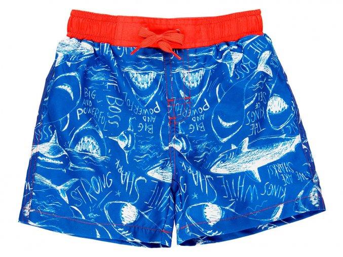 Chlapecké plavky boxerky Žralok modročervené