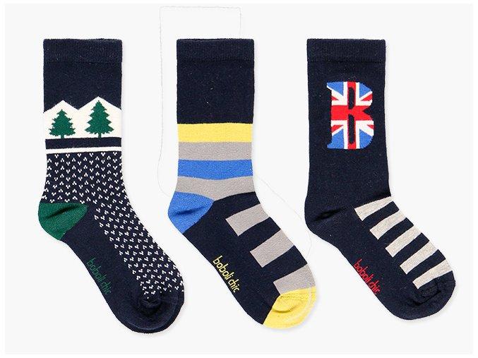 Klučičí ponožky tři páry tmavé pruhované kluk Boboli set