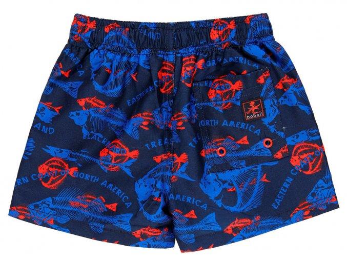 Chlapecké plavky boxerky Rybí kostry modročervené