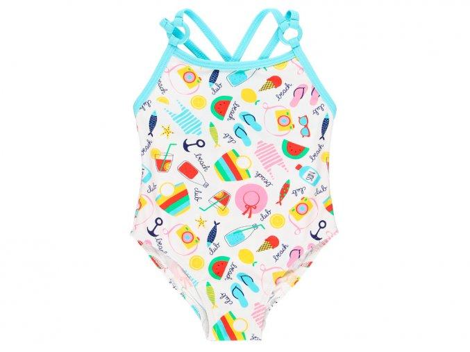 Kojenecké plavky vcelku Barevné léto s taštičkou plavky pro holčičku Boboli barevné světlé