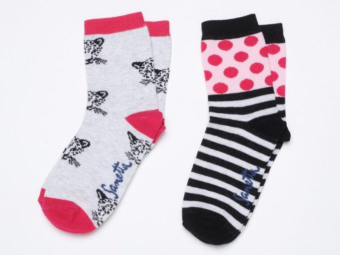 Dívčí ponožky s kočičkou puntíkaté pruhované bavlna růžové černé šedé Holčičí ponožky růžové Ewers