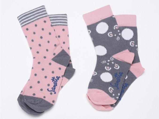Dívčí ponožky s puntíky růžové šedé 2 páry
