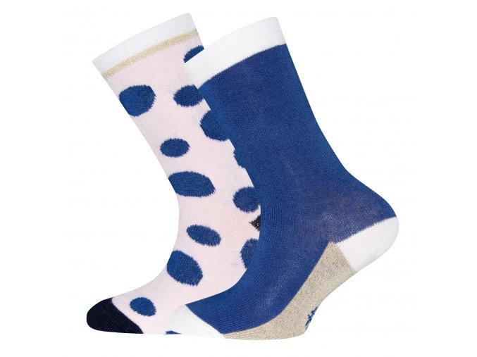 Dívčí ponožky Královské Puntíky modré růžové zlaté