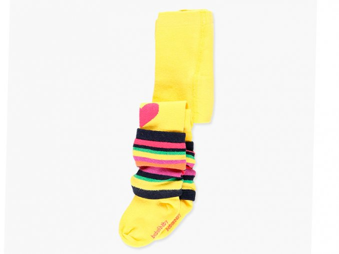 Holčičí punčocháče s posuvnými návleky žluté duhové barevné srdíčka holčička