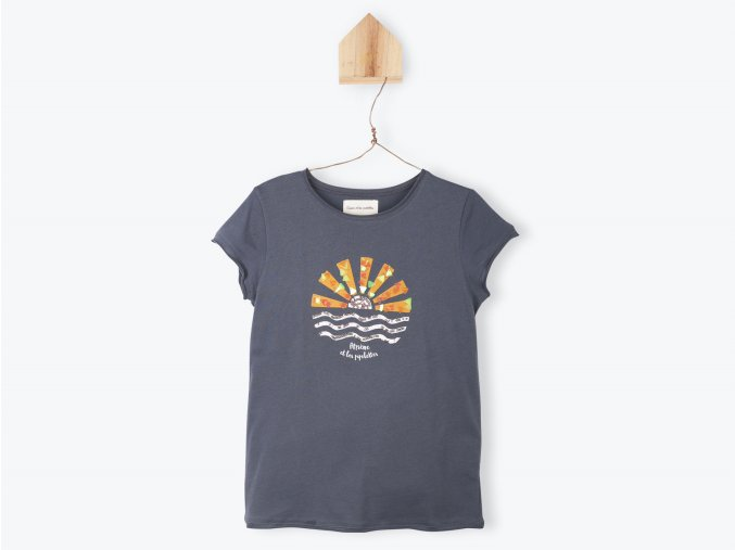 Dívčí tričko Východ slůnce organic šedé