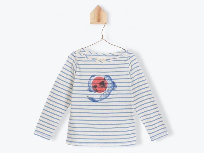 Chlapecké tričko s dlouhým rukávem Japonský kapr pruhované