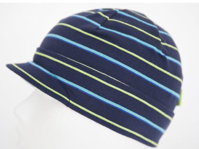 Pruhovaná čepice s kšiltem