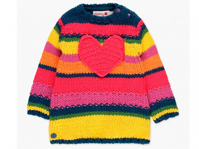 Boboli dívčí pletené šaty Duha svetr srdíčka hoka růžový žlutý svetr