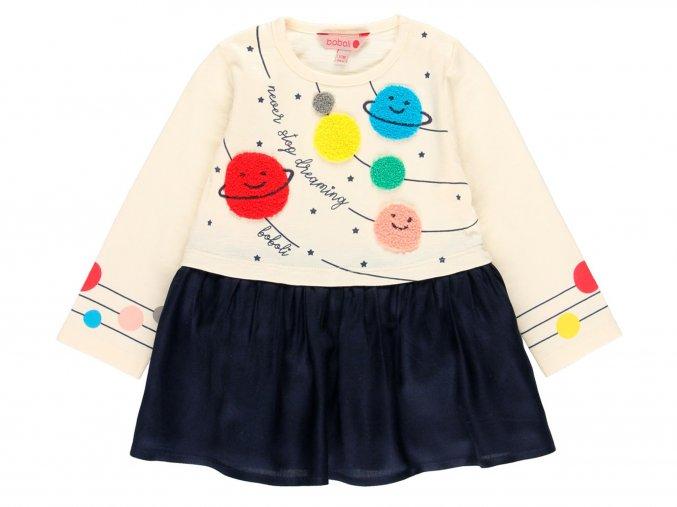 Dívčí šatičky vesmír barevné bílé modré Boboli  b