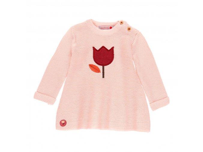 dívčí pletené šaty růžové tulipán Boboli a