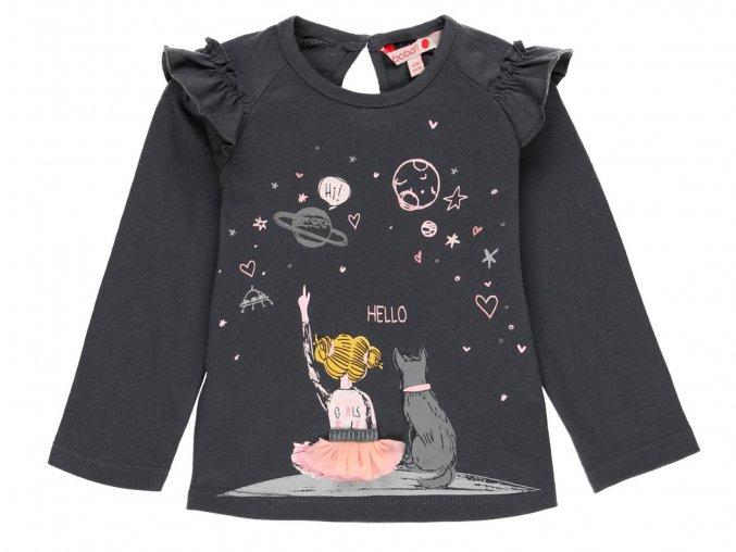 Dívčí tričko s dlouhým rukávem Vesmír šedé