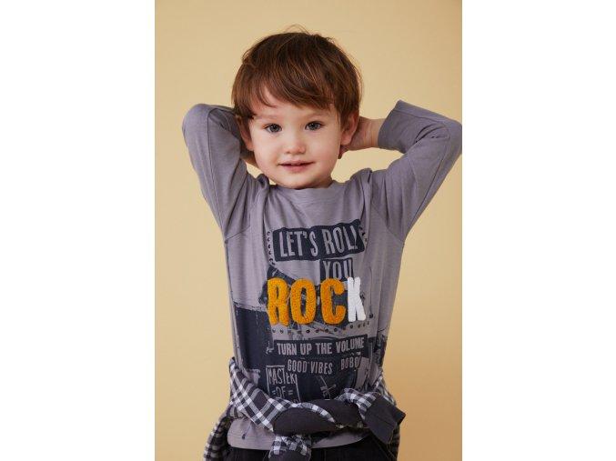 chlapecké tričko Lets Rock šedé 3D model Boboli