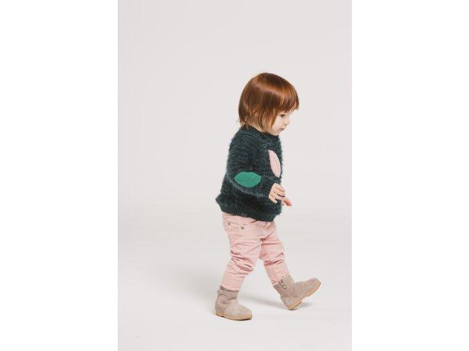 zelený svetřík pro holčičku s výšivkami lístků mohér Boboli Loobook AW19 (44)