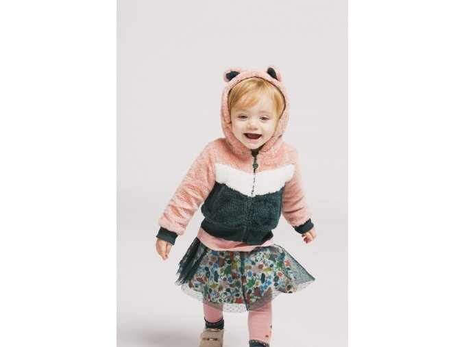 boboli dívčí bunda zip růžová kožíšek