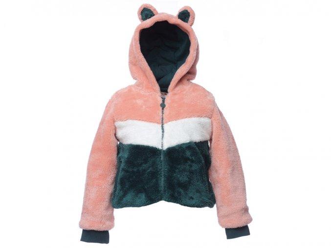 Dívčí bunda mikina na zip růžová fleecová holka mikina s kapucí s oušky Boboli K 11043