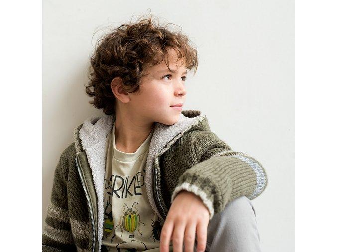 Chlapecký pletený svetr kožíšek natural zelený Boboli