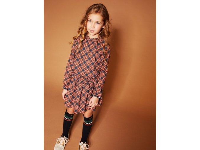 Dívčí kárované šaty se stojáčkem lehké dlouhý rukávHolčičí šaty kárované oranž modré NONO holand b