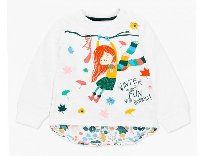 Bílé tričko dlouhý rukáv holčička veselé barevné podzim lístky košilka prodloužená záda Boboli 2081231111 a