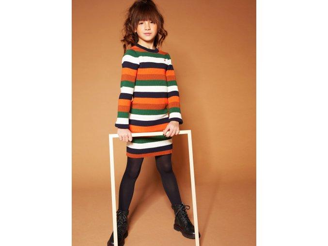 Dívčí pletené šaty pruhované chilli oranžové barevné Holandské NONO N008 5810 523 2