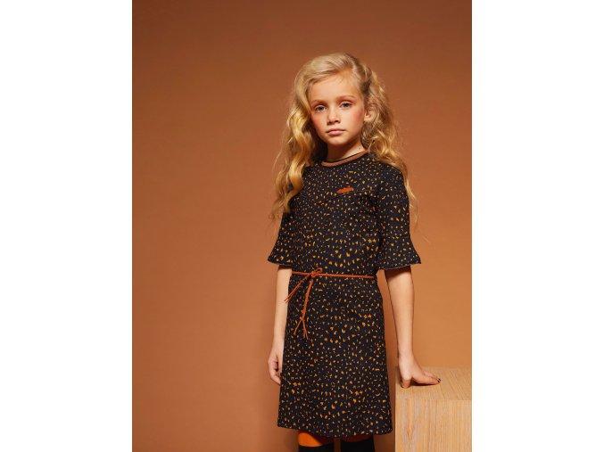 Dívčí strečové šaty Kočka 1/2 rukáv NONO holand 2