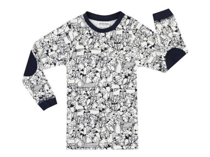 Dětské pyžamo kluk černobílé Lišáci Jacky 2v1 top