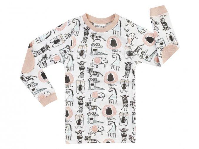 Dětské pyžamo holka Zvířátka Afrika bio bavlna růžové Jacky a
