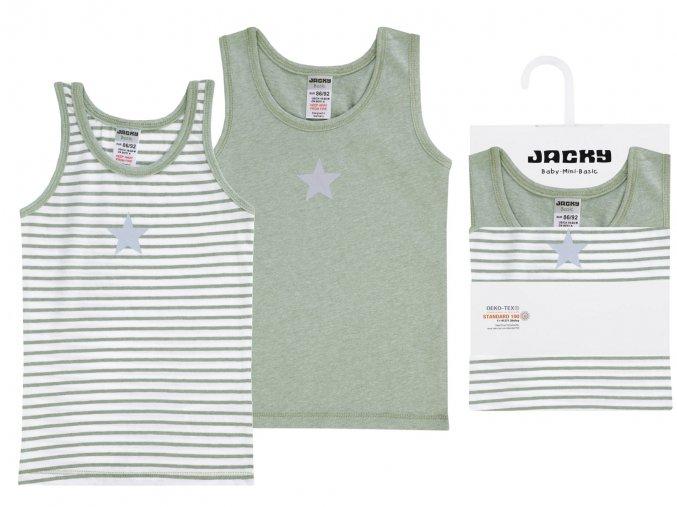 Dětská tílka kluk khaki Hvězda a pruhované 2 ks Jacky zelené
