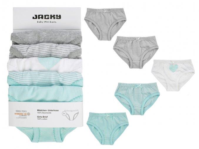 Dívčí kalhotky holka Tyrkys a šedé 5 ks Jacky