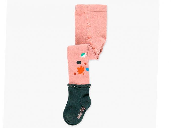 Dětské punčocháče z měkké bavlny s ozdobnou ponožkou a lístky