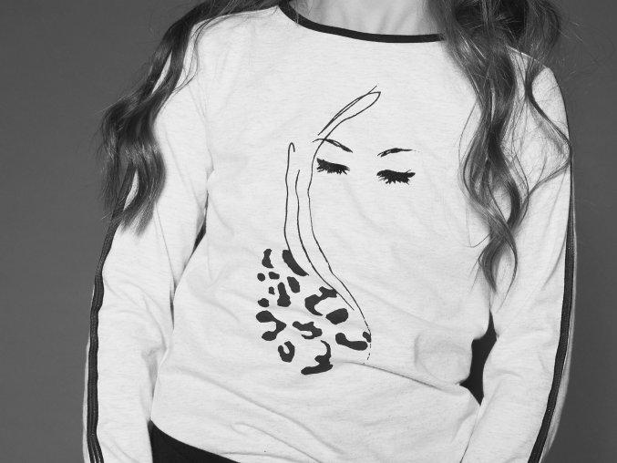 Dívčí světlé tričko Vintage oči luxusní bílé tričko krémově bílé holka N009 5408 014 4