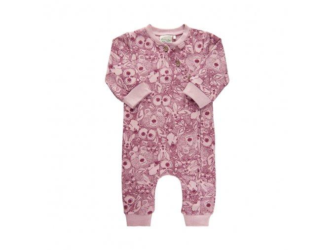 Kojenecký overal na zip růžový zvířatka pro holčičku overalek se sovičkami Minymo 111377 4200
