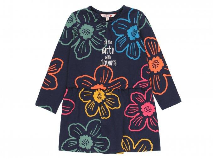 Dívčí šaty tmavě modré s barevnými květy duhové holka bavlna áčkové Boboli4310532440 a