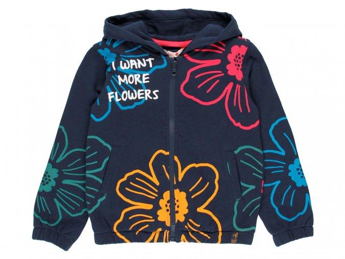 Dívčí mikina na zip a s kapucí s duhovými květy modrá Boboli 4311432440 a