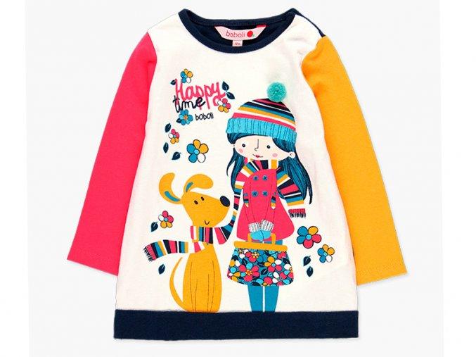 Veselé šaty pro holčičku bavlna růžové hořčice Boboli tmavě modré2180782440 a