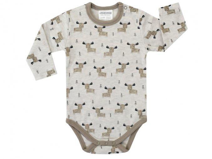 1520310 0 7578 kojenecké body chlapeček zvířátka příroda khaki dlouhý rukáv