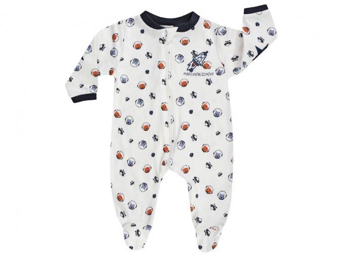 3220410 0 7800 kojenecký overal kluk bílý vesmír tmavě modrý oranžový