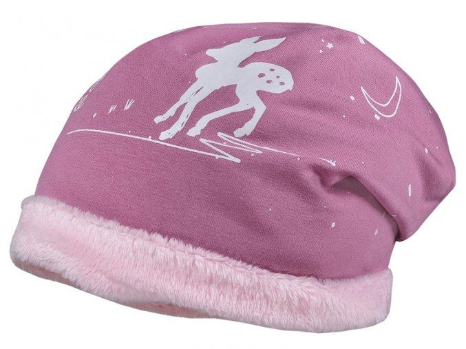 Zimní čepice holka růžová svítí ve tmě Maximo 03503 947776 1741 copy